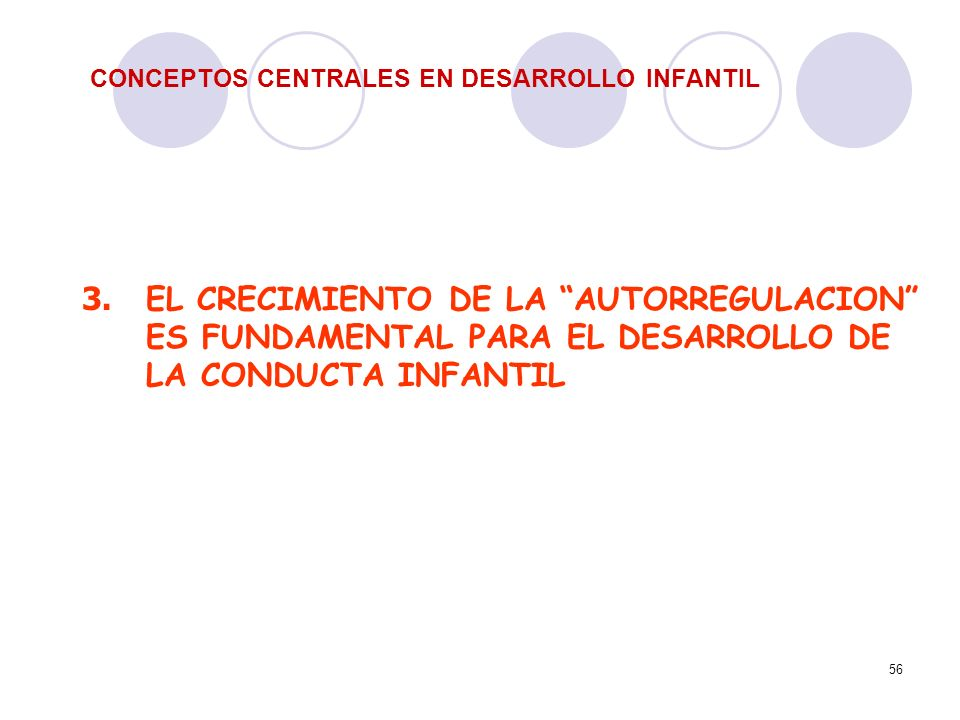 56 CONCEPTOS CENTRALES EN DESARROLLO INFANTIL 3. EL CRECIMIENTO DE LA AUTORREGULACION ES FUNDAMENTAL PARA EL DESARROLLO DE LA CONDUCTA INFANTIL