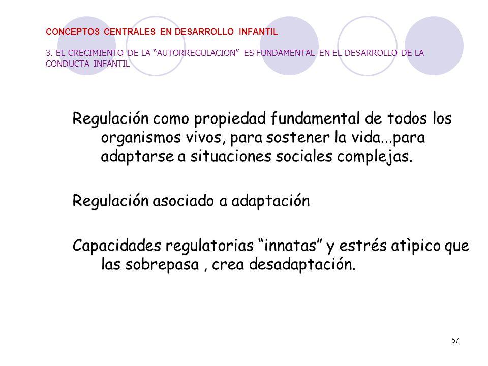57 CONCEPTOS CENTRALES EN DESARROLLO INFANTIL 3. EL CRECIMIENTO DE LA AUTORREGULACION ES FUNDAMENTAL EN EL DESARROLLO DE LA CONDUCTA INFANTIL Regulaci