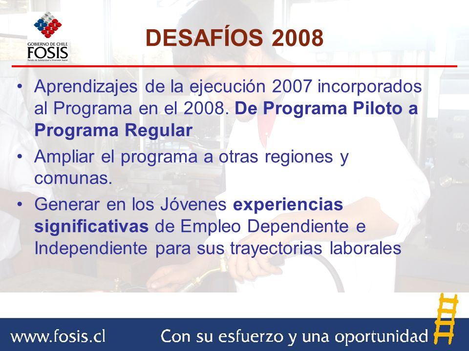 Aprendizajes de la ejecución 2007 incorporados al Programa en el 2008. De Programa Piloto a Programa Regular Ampliar el programa a otras regiones y co