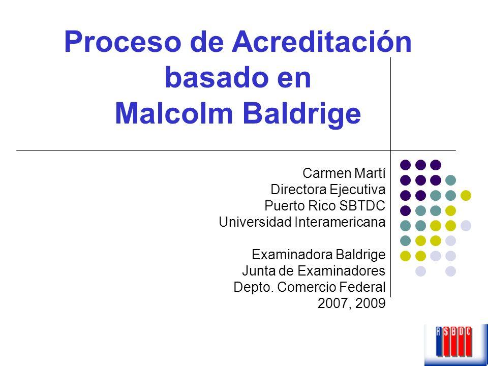 Carmen Martí Directora Ejecutiva Puerto Rico SBTDC Universidad Interamericana Examinadora Baldrige Junta de Examinadores Depto. Comercio Federal 2007,