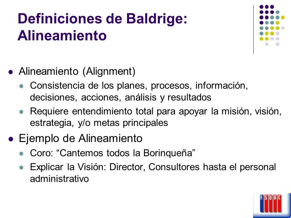 Definiciones de Baldrige: Alineamiento Alineamiento (Alignment) Consistencia de los planes, procesos, información, decisiones, acciones, análisis y re