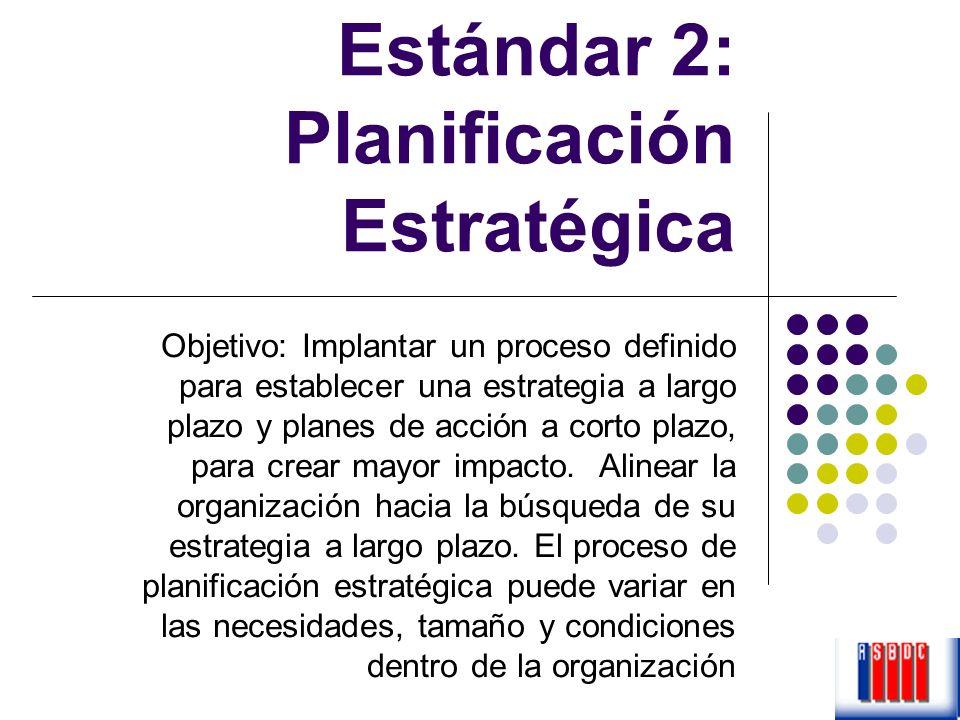 Estándar 2: Planificación Estratégica Objetivo: Implantar un proceso definido para establecer una estrategia a largo plazo y planes de acción a corto