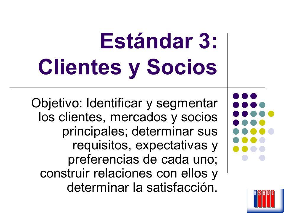 Estándar 3: Clientes y Socios Objetivo: Identificar y segmentar los clientes, mercados y socios principales; determinar sus requisitos, expectativas y