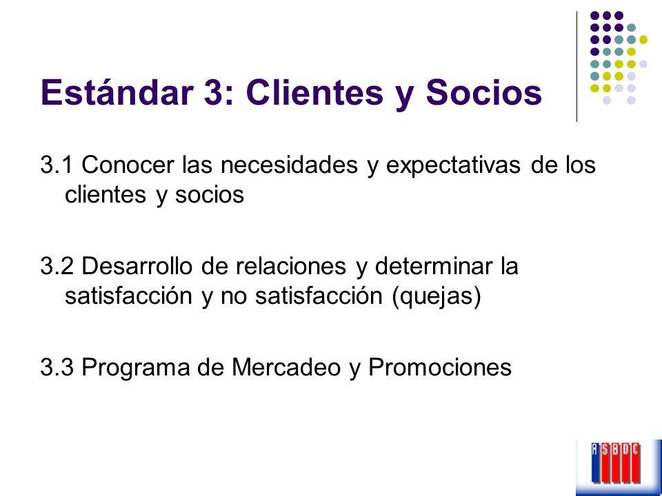 Estándar 3: Clientes y Socios 3.1 Conocer las necesidades y expectativas de los clientes y socios 3.2 Desarrollo de relaciones y determinar la satisfa