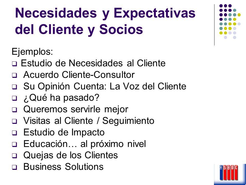 Necesidades y Expectativas del Cliente y Socios Ejemplos: Estudio de Necesidades al Cliente Acuerdo Cliente-Consultor Su Opinión Cuenta: La Voz del Cl