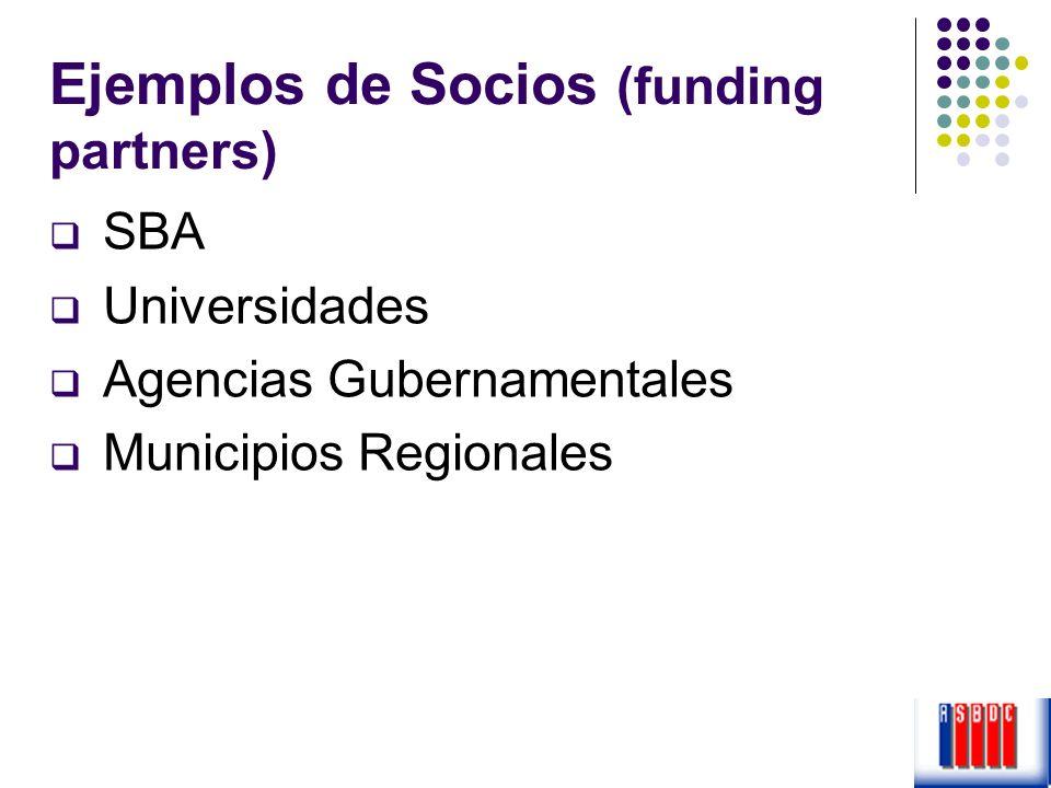 Ejemplos de Socios (funding partners) SBA Universidades Agencias Gubernamentales Municipios Regionales