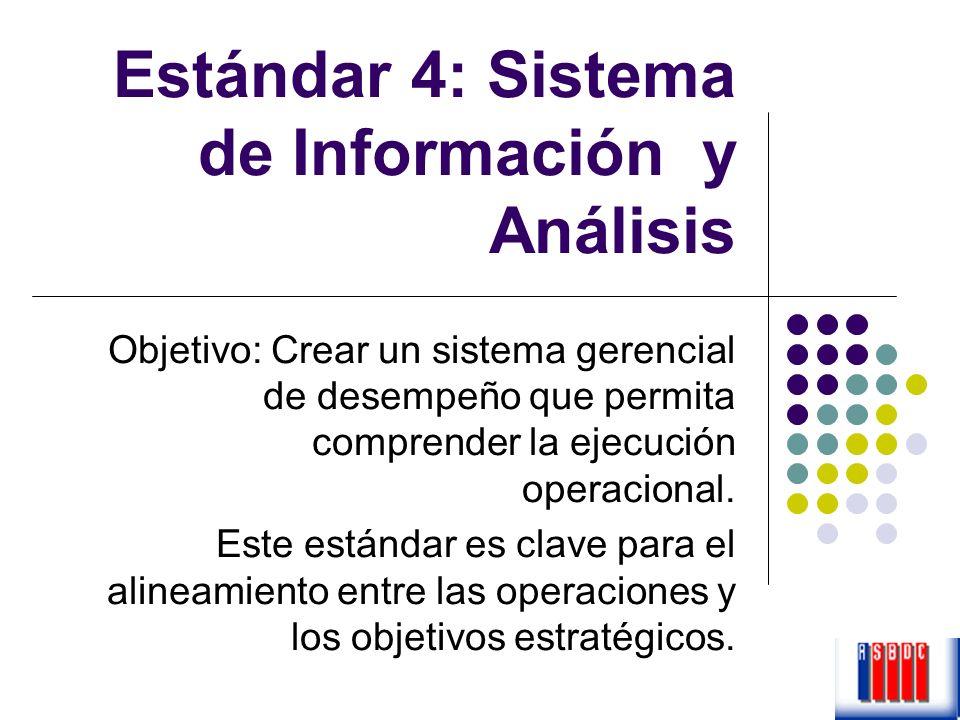 Estándar 4: Sistema de Información y Análisis Objetivo: Crear un sistema gerencial de desempeño que permita comprender la ejecución operacional. Este