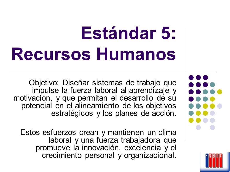 Estándar 5: Recursos Humanos Objetivo: Diseñar sistemas de trabajo que impulse la fuerza laboral al aprendizaje y motivación, y que permitan el desarr