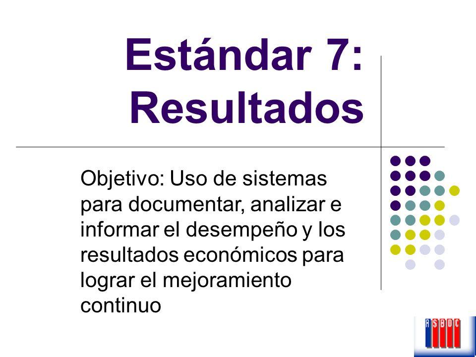 Estándar 7: Resultados Objetivo: Uso de sistemas para documentar, analizar e informar el desempeño y los resultados económicos para lograr el mejorami