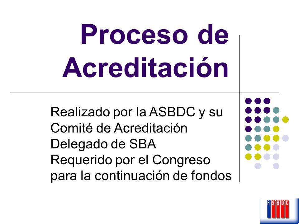 Proceso de Acreditación Realizado por la ASBDC y su Comité de Acreditación Delegado de SBA Requerido por el Congreso para la continuación de fondos