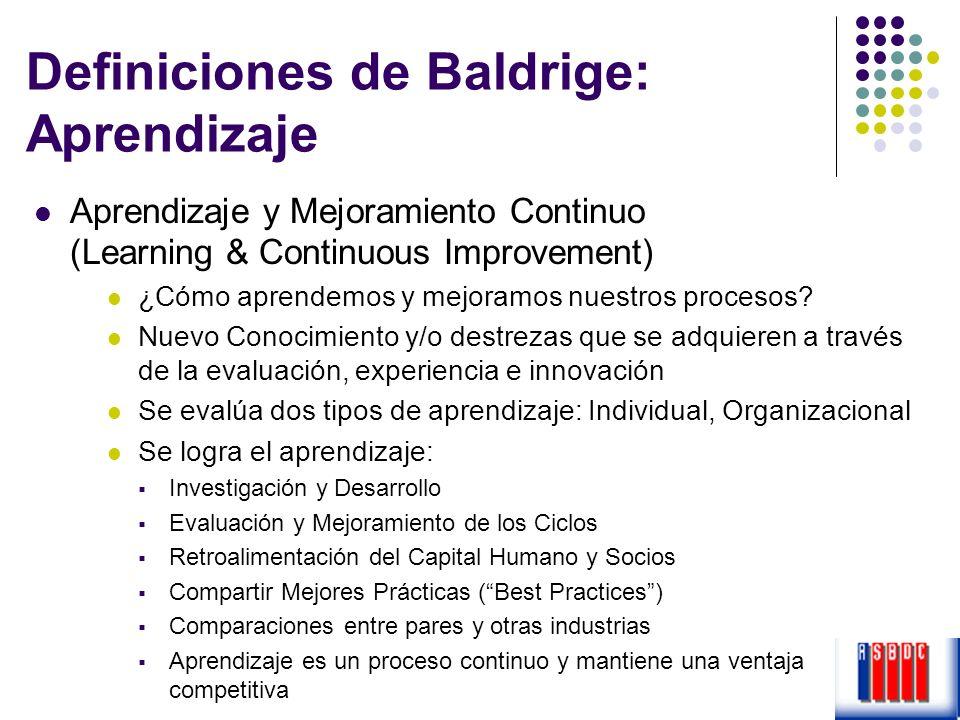 Definiciones de Baldrige: Aprendizaje Aprendizaje y Mejoramiento Continuo (Learning & Continuous Improvement) ¿Cómo aprendemos y mejoramos nuestros pr