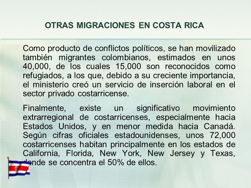 OTRAS MIGRACIONES EN COSTA RICA Existe un importante contingente de indígenas panameños, estimados en unos 2,500, que trabajan en la provincia de Limó