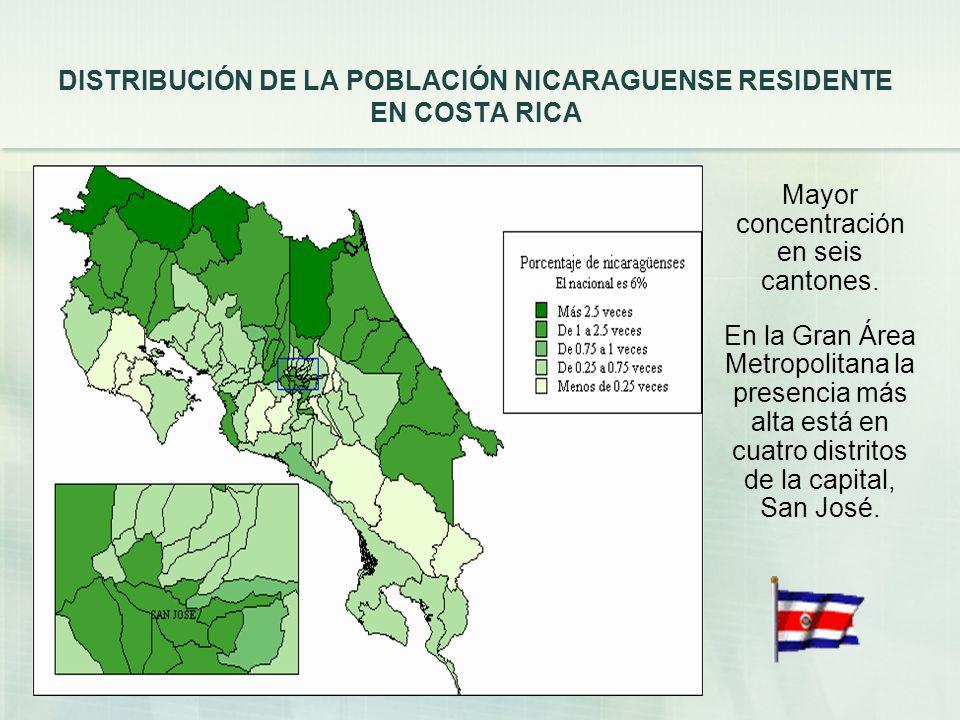 DISTRIBUCIÓN DE LA POBLACIÓN NICARAGUENSE RESIDENTE EN COSTA RICA Mayor concentración en seis cantones.