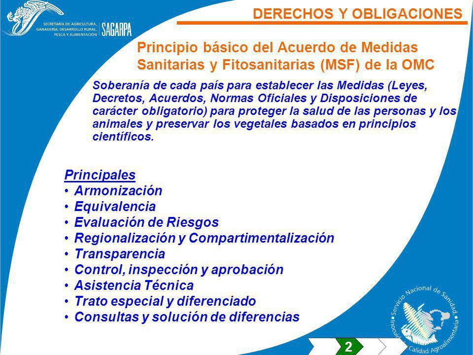 Principales Armonización Equivalencia Evaluación de Riesgos Regionalización y Compartimentalización Transparencia Control, inspección y aprobación Asi