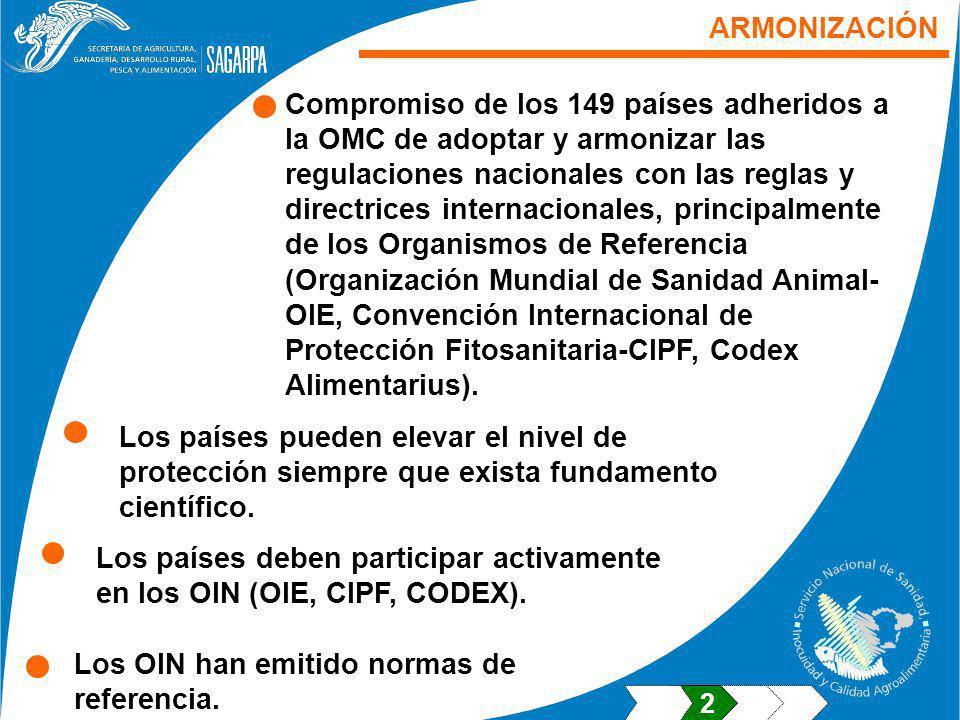 ARMONIZACIÓN Compromiso de los 149 países adheridos a la OMC de adoptar y armonizar las regulaciones nacionales con las reglas y directrices internacionales, principalmente de los Organismos de Referencia (Organización Mundial de Sanidad Animal- OIE, Convención Internacional de Protección Fitosanitaria-CIPF, Codex Alimentarius).