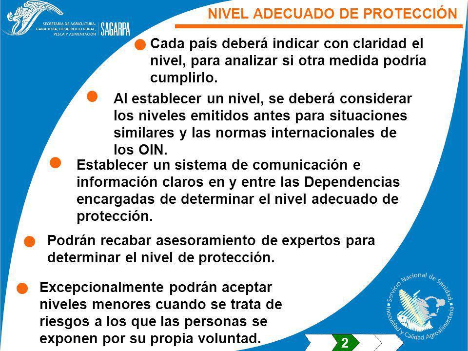 NIVEL ADECUADO DE PROTECCIÓN Cada país deberá indicar con claridad el nivel, para analizar si otra medida podría cumplirlo.