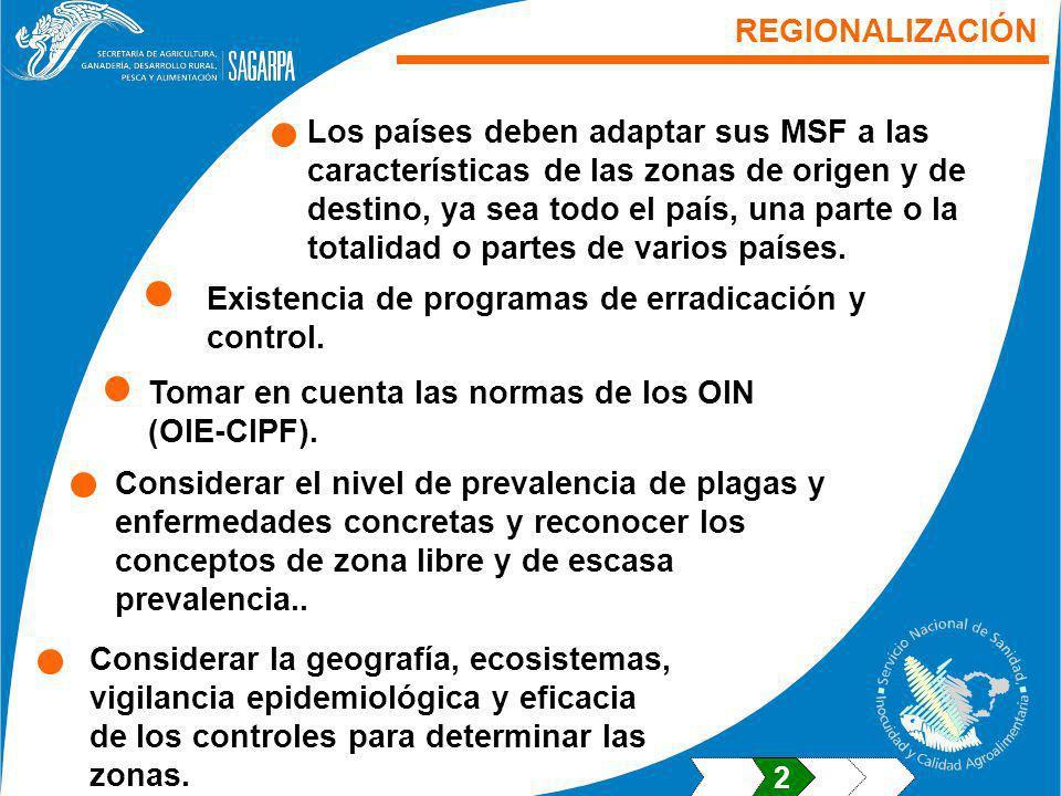REGIONALIZACIÓN Los países deben adaptar sus MSF a las características de las zonas de origen y de destino, ya sea todo el país, una parte o la totali