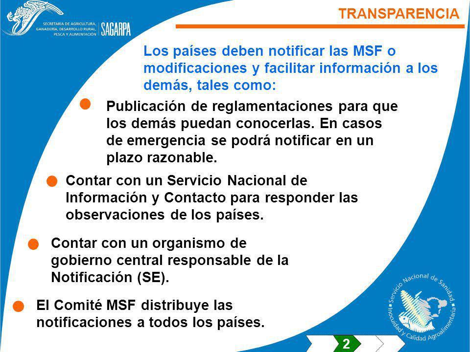 TRANSPARENCIA Los países deben notificar las MSF o modificaciones y facilitar información a los demás, tales como: Contar con un Servicio Nacional de Información y Contacto para responder las observaciones de los países.