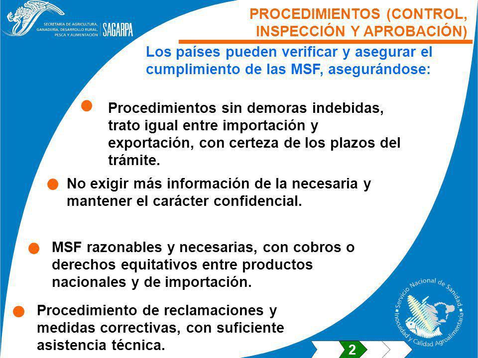 PROCEDIMIENTOS (CONTROL, INSPECCIÓN Y APROBACIÓN) Los países pueden verificar y asegurar el cumplimiento de las MSF, asegurándose: No exigir más información de la necesaria y mantener el carácter confidencial.