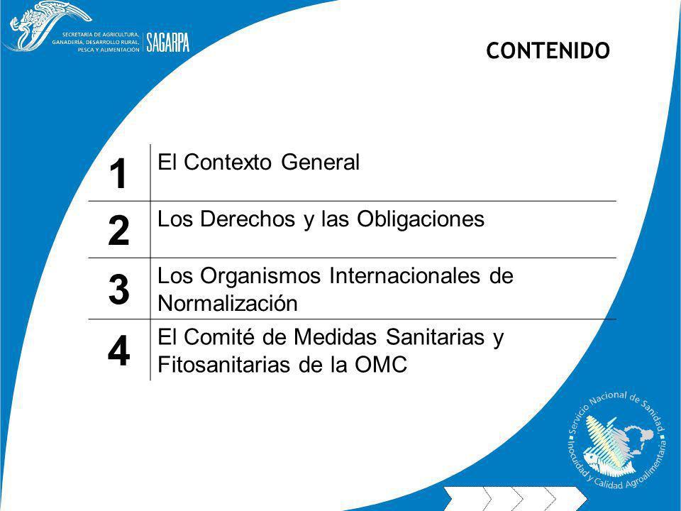 1 El Contexto General 2 Los Derechos y las Obligaciones 3 Los Organismos Internacionales de Normalización 4 El Comité de Medidas Sanitarias y Fitosanitarias de la OMC CONTENIDO