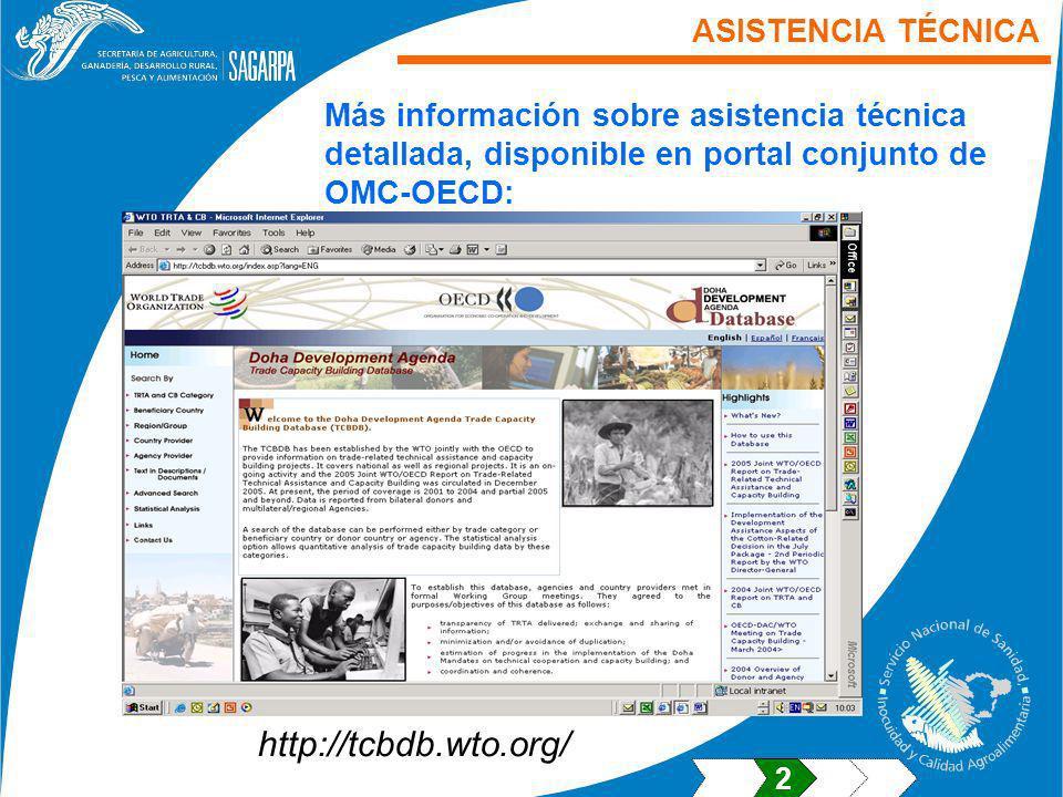 ASISTENCIA TÉCNICA Más información sobre asistencia técnica detallada, disponible en portal conjunto de OMC-OECD: http://tcbdb.wto.org/ 2