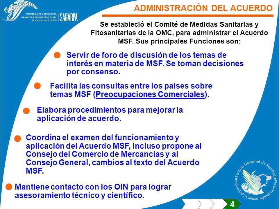 Servir de foro de discusión de los temas de interés en materia de MSF. Se toman decisiones por consenso. Se estableció el Comité de Medidas Sanitarias