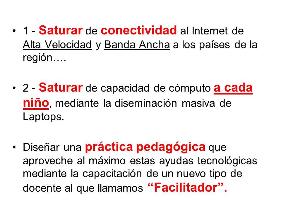 1 - Saturar de conectividad al Internet de Alta Velocidad y Banda Ancha a los países de la región…. 2 - Saturar de capacidad de cómputo a cada niño, m