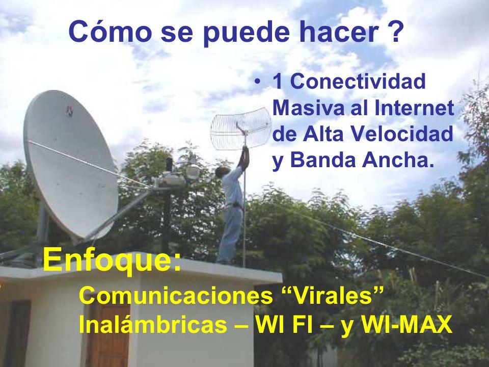 Cómo se puede hacer ? 1 Conectividad Masiva al Internet de Alta Velocidad y Banda Ancha. Comunicaciones Virales Inalámbricas – WI FI – y WI-MAX Enfoqu