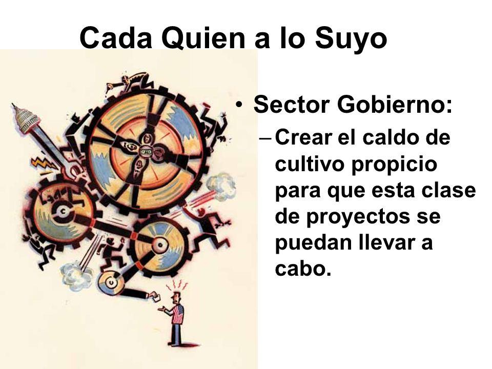 Cada Quien a lo Suyo Sector Gobierno: –Crear el caldo de cultivo propicio para que esta clase de proyectos se puedan llevar a cabo.