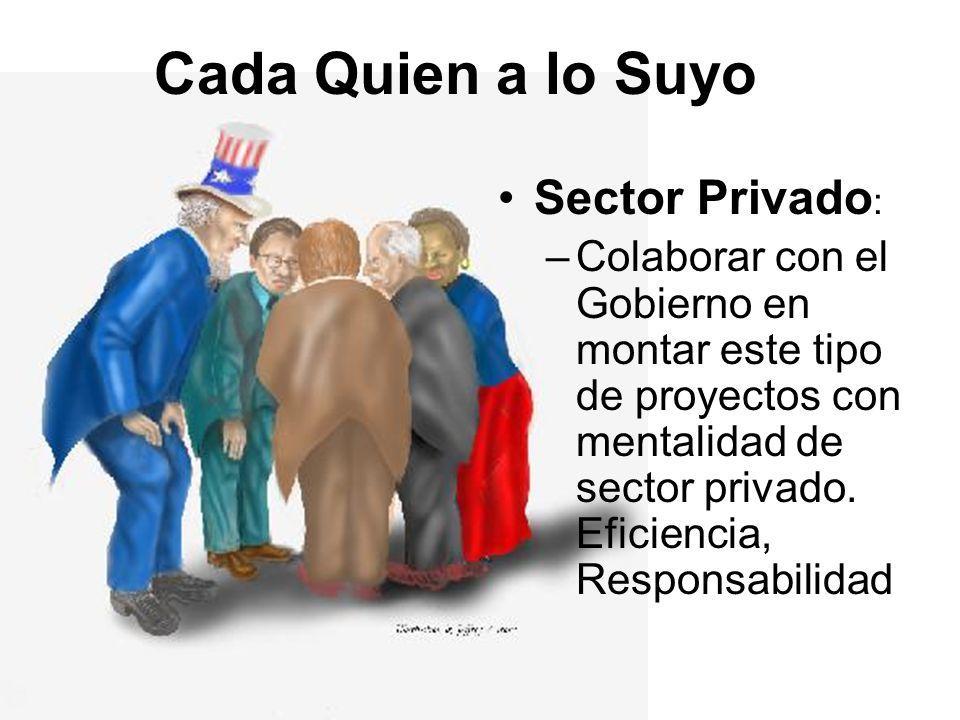 Cada Quien a lo Suyo Sector Privado : –Colaborar con el Gobierno en montar este tipo de proyectos con mentalidad de sector privado. Eficiencia, Respon