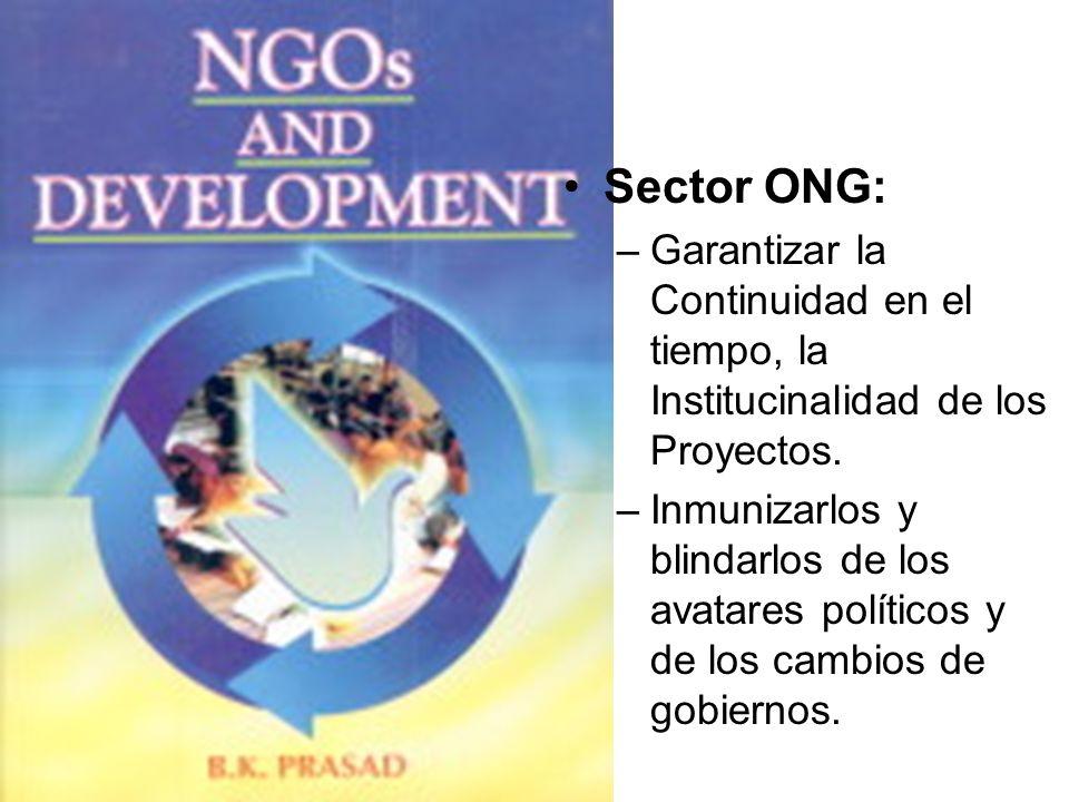 Sector ONG: –Garantizar la Continuidad en el tiempo, la Institucinalidad de los Proyectos. –Inmunizarlos y blindarlos de los avatares políticos y de l