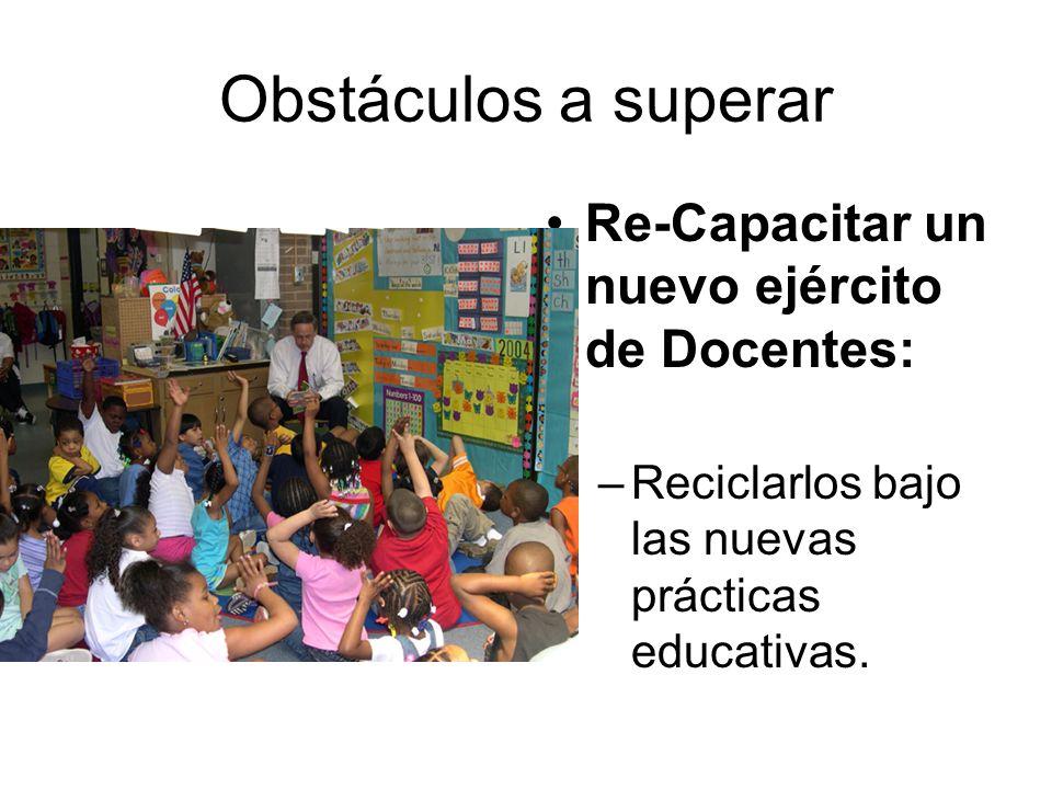 Obstáculos a superar Re-Capacitar un nuevo ejército de Docentes: –Reciclarlos bajo las nuevas prácticas educativas.