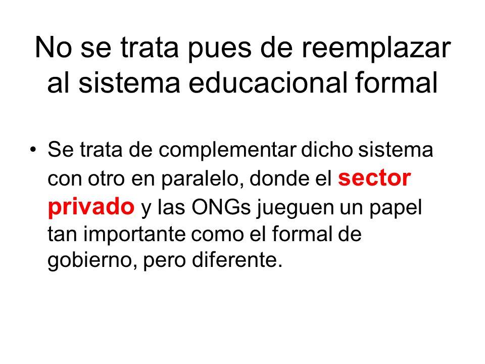 No se trata pues de reemplazar al sistema educacional formal Se trata de complementar dicho sistema con otro en paralelo, donde el sector privado y la