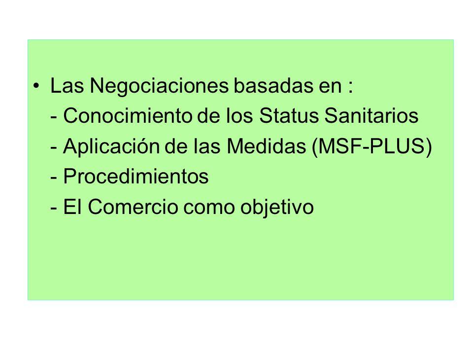 Las Negociaciones basadas en : - Conocimiento de los Status Sanitarios - Aplicación de las Medidas (MSF-PLUS) - Procedimientos - El Comercio como obje