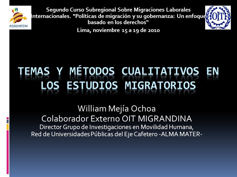 William Mejía Ochoa Colaborador Externo OIT MIGRANDINA Director Grupo de Investigaciones en Movilidad Humana, Red de Universidades Públicas del Eje Ca
