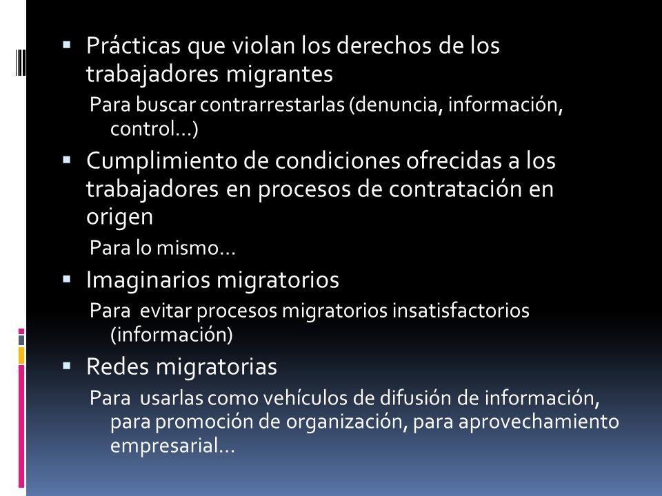 Prácticas que violan los derechos de los trabajadores migrantes Para buscar contrarrestarlas (denuncia, información, control…) Cumplimiento de condici