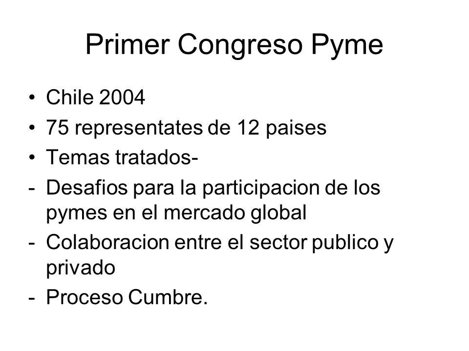 Primer Congreso Pyme Chile 2004 75 representates de 12 paises Temas tratados- -Desafios para la participacion de los pymes en el mercado global -Colaboracion entre el sector publico y privado -Proceso Cumbre.