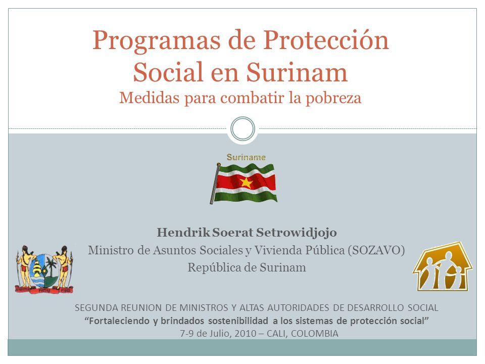 Hendrik Soerat Setrowidjojo Ministro de Asuntos Sociales y Vivienda Pública (SOZAVO) República de Surinam Programas de Protección Social en Surinam Me