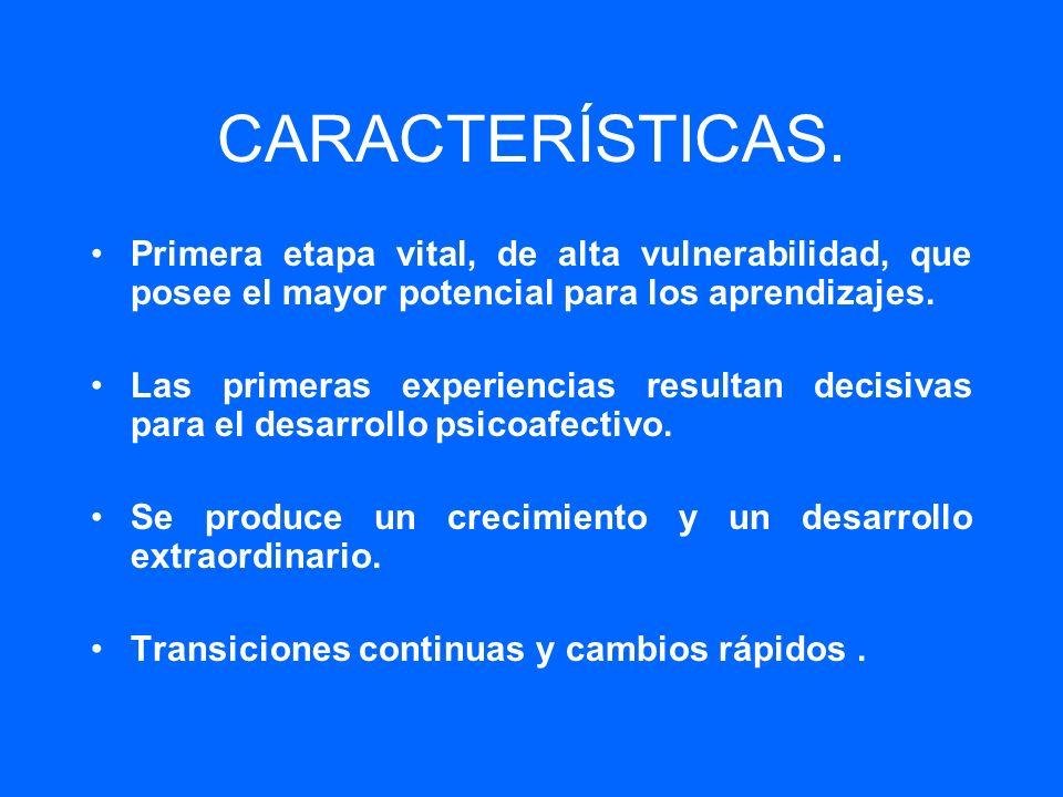 CARACTERÍSTICAS. Primera etapa vital, de alta vulnerabilidad, que posee el mayor potencial para los aprendizajes. Las primeras experiencias resultan d