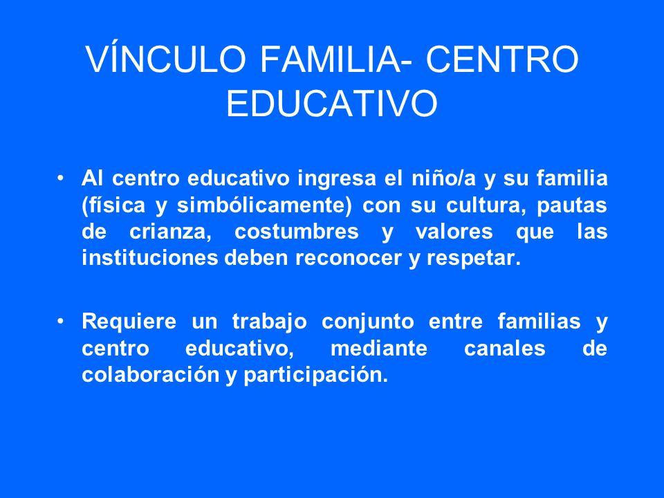 VÍNCULO FAMILIA- CENTRO EDUCATIVO Al centro educativo ingresa el niño/a y su familia (física y simbólicamente) con su cultura, pautas de crianza, cost