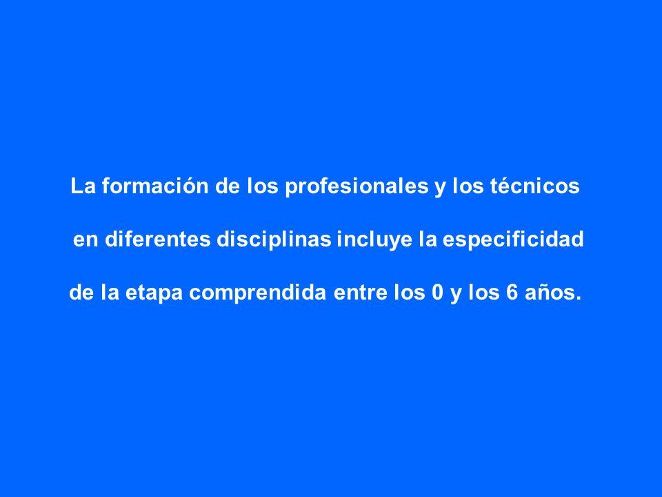 La formación de los profesionales y los técnicos en diferentes disciplinas incluye la especificidad de la etapa comprendida entre los 0 y los 6 años.