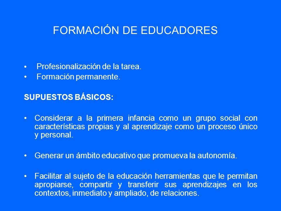 FORMACIÓN DE EDUCADORES Profesionalización de la tarea. Formación permanente. SUPUESTOS BÁSICOS: Considerar a la primera infancia como un grupo social