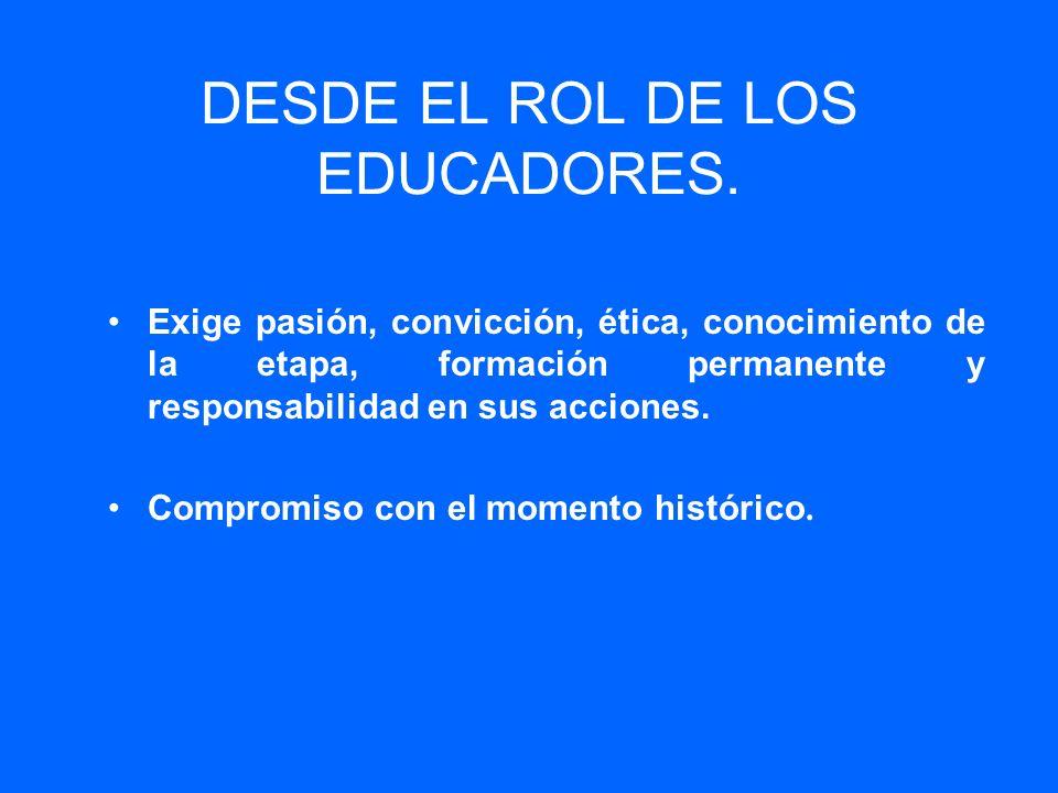 DESDE EL ROL DE LOS EDUCADORES. Exige pasión, convicción, ética, conocimiento de la etapa, formación permanente y responsabilidad en sus acciones. Com