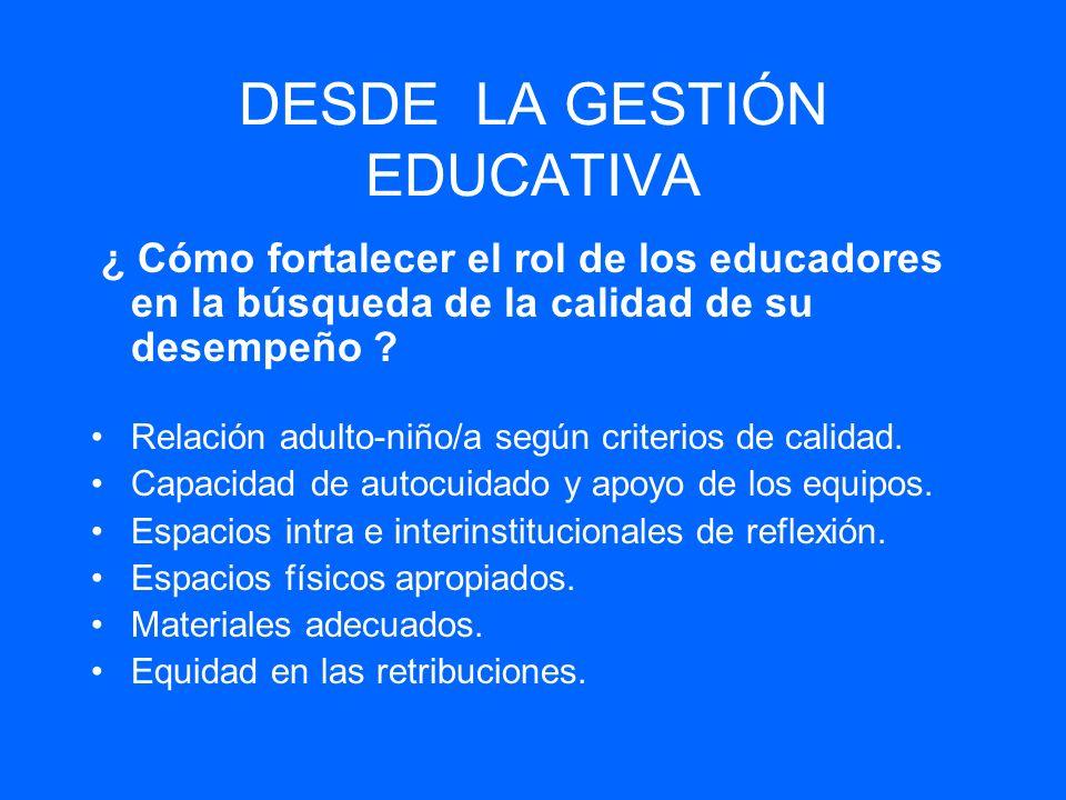 DESDE LA GESTIÓN EDUCATIVA ¿ Cómo fortalecer el rol de los educadores en la búsqueda de la calidad de su desempeño ? Relación adulto-niño/a según crit