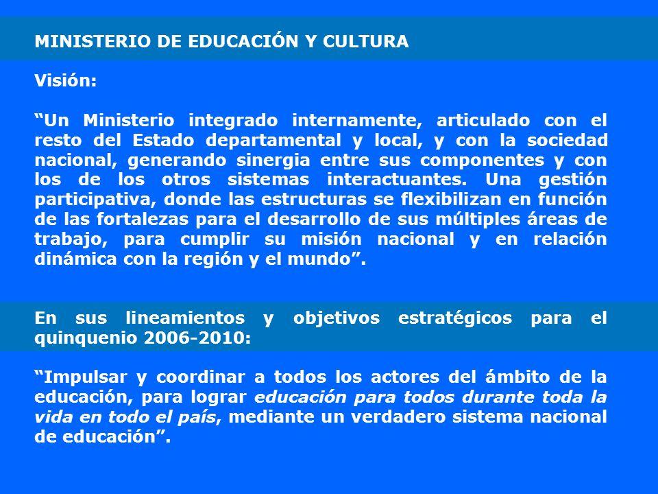 MINISTERIO DE EDUCACIÓN Y CULTURA Visión: Un Ministerio integrado internamente, articulado con el resto del Estado departamental y local, y con la soc