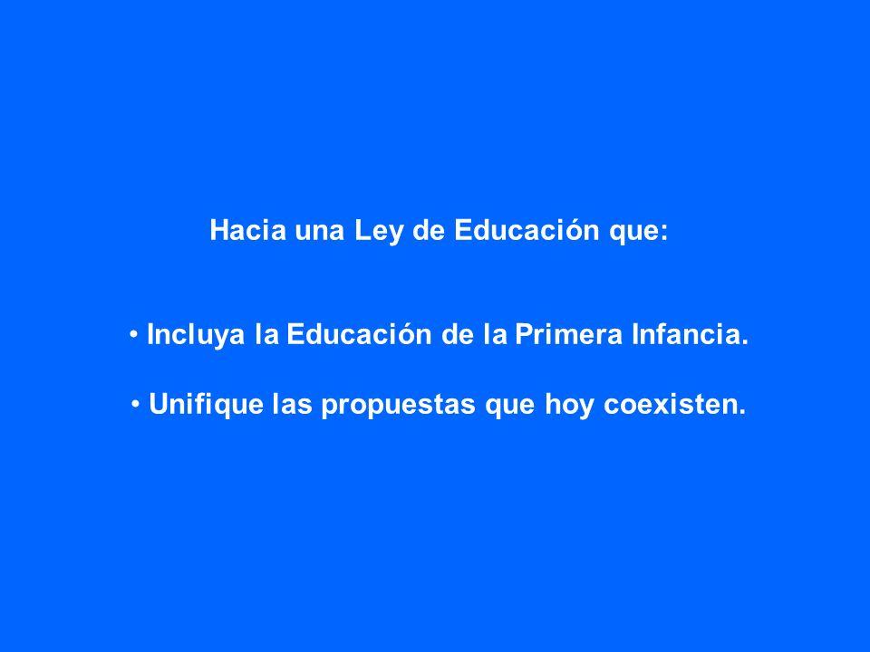 Hacia una Ley de Educación que: Incluya la Educación de la Primera Infancia. Unifique las propuestas que hoy coexisten.