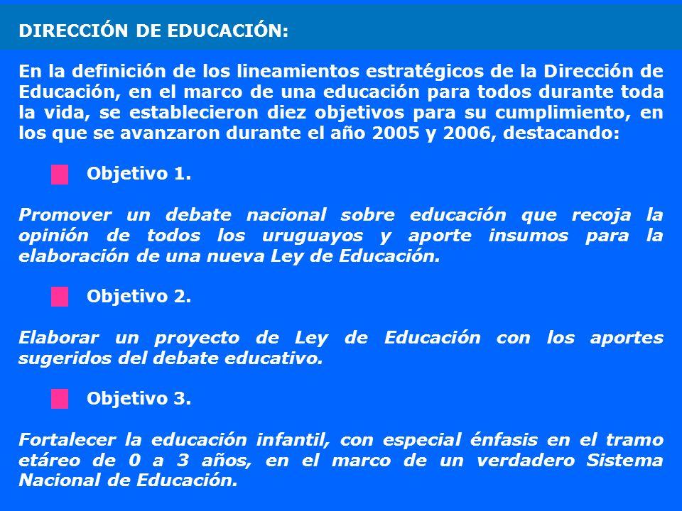 DIRECCIÓN DE EDUCACIÓN: En la definición de los lineamientos estratégicos de la Dirección de Educación, en el marco de una educación para todos durant