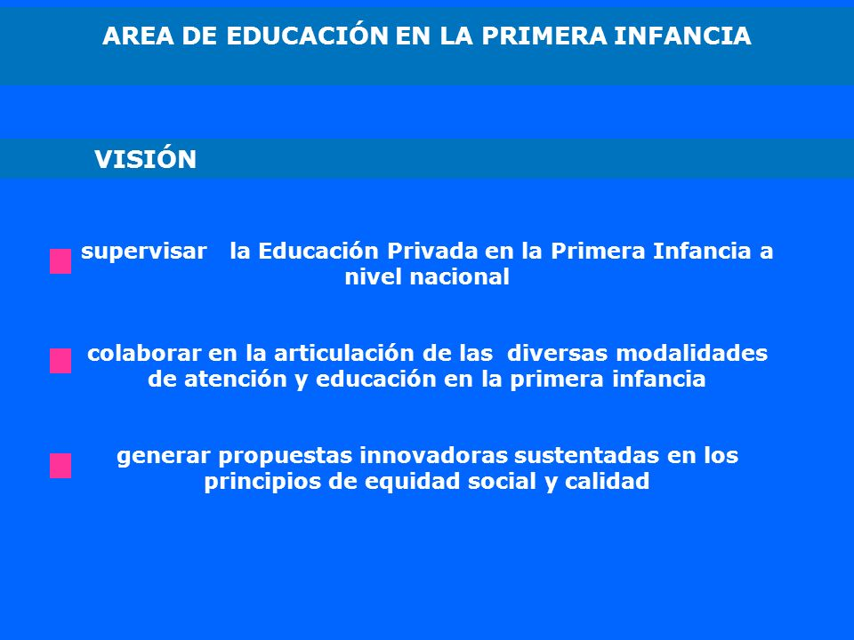 AREA DE EDUCACIÓN EN LA PRIMERA INFANCIA supervisar la Educación Privada en la Primera Infancia a nivel nacional colaborar en la articulación de las d