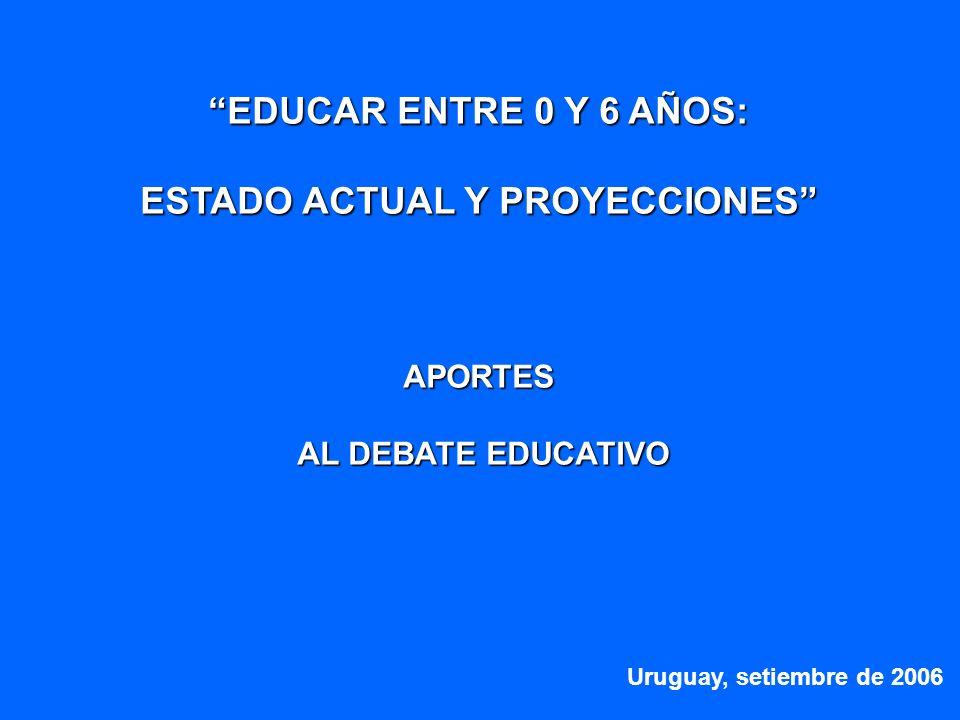 EDUCAR ENTRE 0 Y 6 AÑOS: ESTADO ACTUAL Y PROYECCIONES APORTES AL DEBATE EDUCATIVO AL DEBATE EDUCATIVO Uruguay, setiembre de 2006