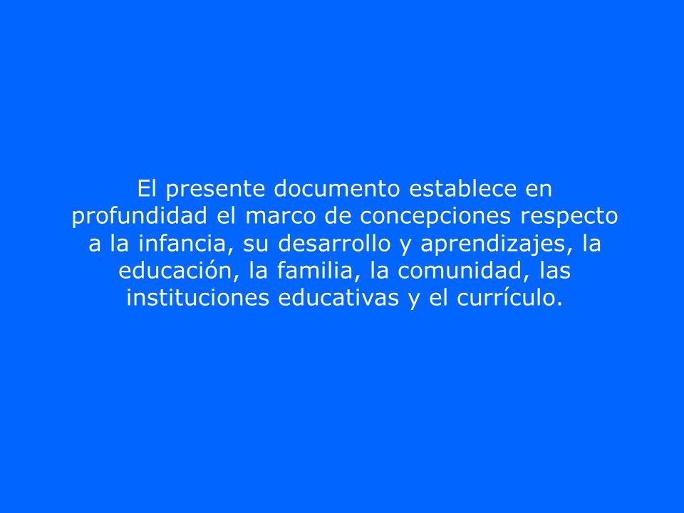 El presente documento establece en profundidad el marco de concepciones respecto a la infancia, su desarrollo y aprendizajes, la educación, la familia